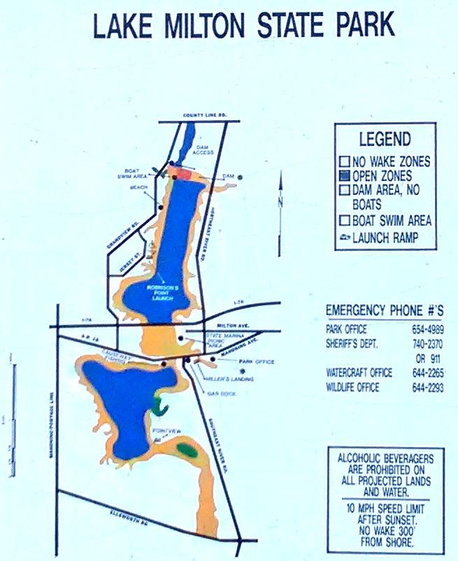 Lake Milton Bass Fishing - Map